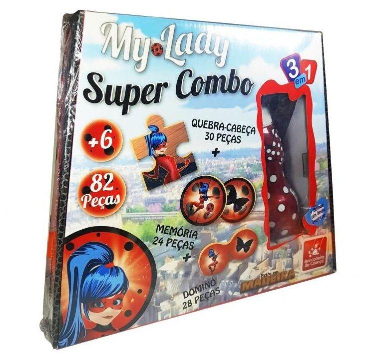 Jogo 3 em 1 Super Combo My Lady em Madeira - Brincadeira de Criança