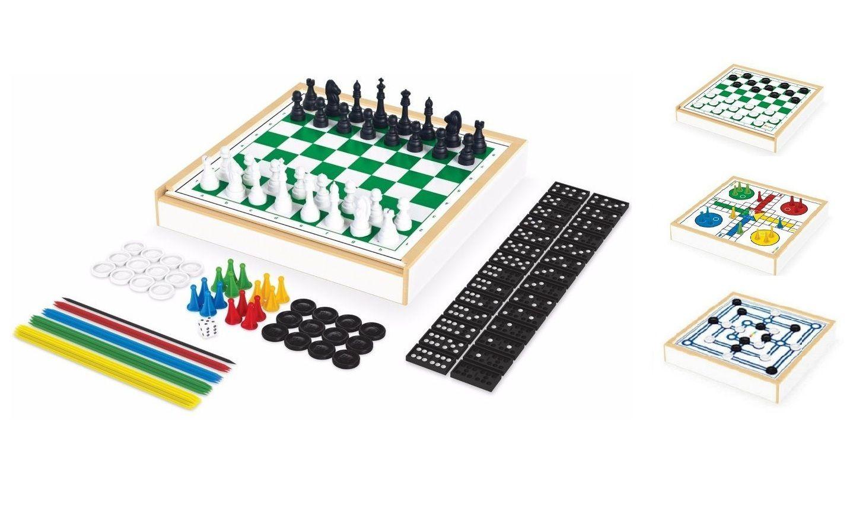 Jogo 6 em 1 Xadrez, Damas, Ludo, Trilha, Dominó e Pega Varetas - Junges