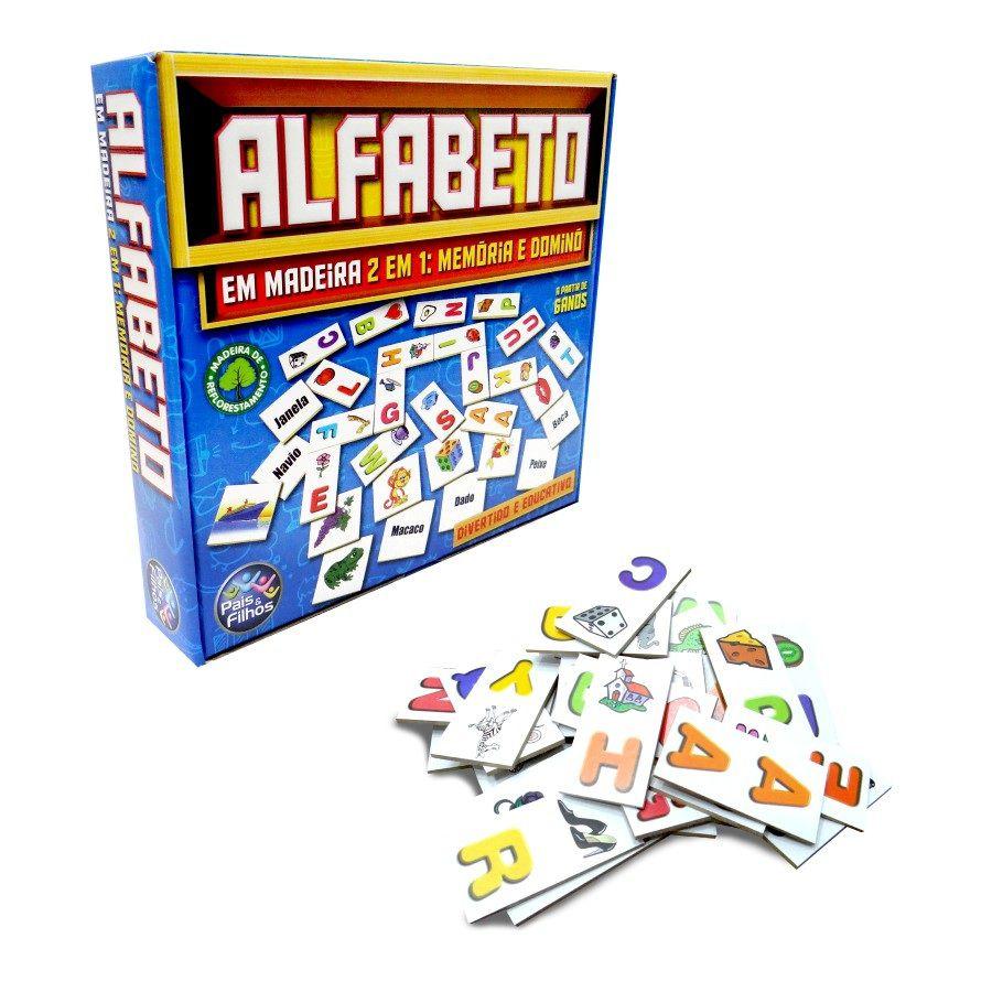 Jogo Alfabeto 2 em 1 Memória e Dominó em Madeira - Pais e Filhos
