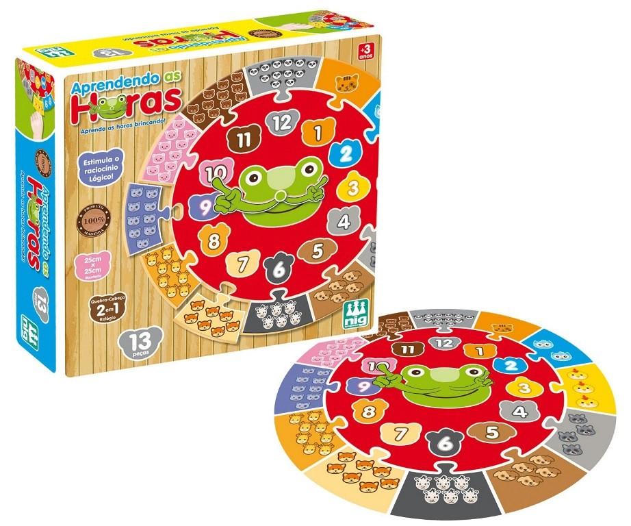Jogo Aprendendo as Horas 13 Peças Madeira - Nig Brinquedos