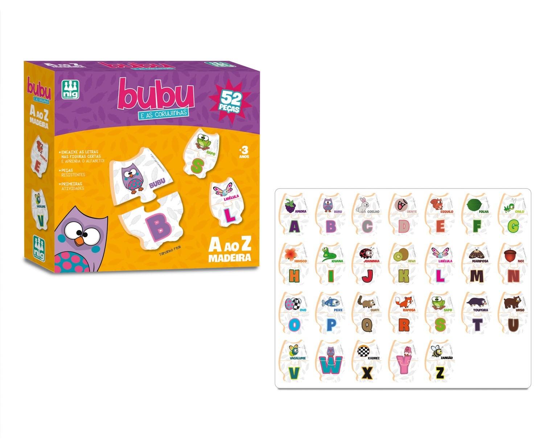 Jogo Bubu e as Corujinhas A ao Z 52 Peças Madeira - Nig Brinquedos