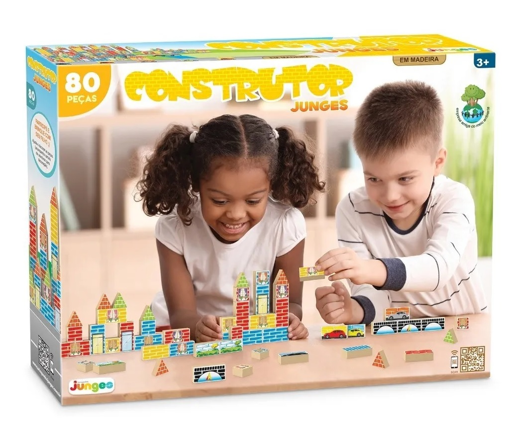 Jogo Construtor 80 Peças em Madeira - Junges