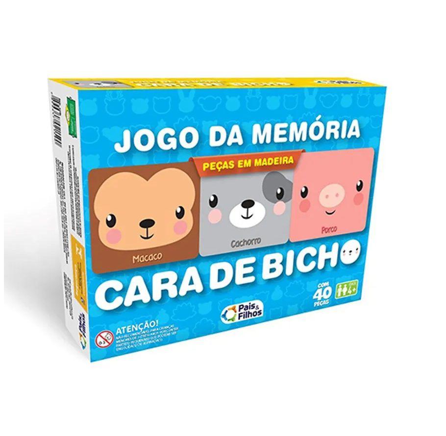 Jogo da Memória Cara de Bicho em Madeira - Pais e Filhos