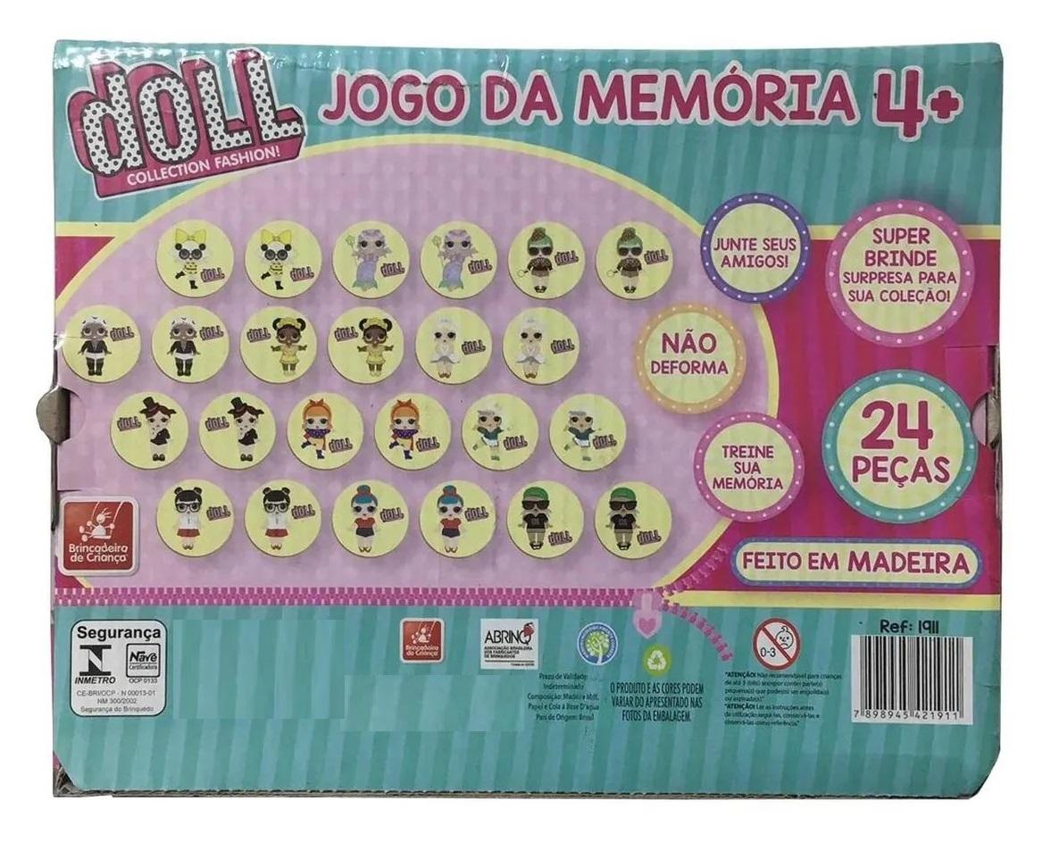 Jogo da Memória Doll 24 Peças em Madeira - Brincadeira de Criança