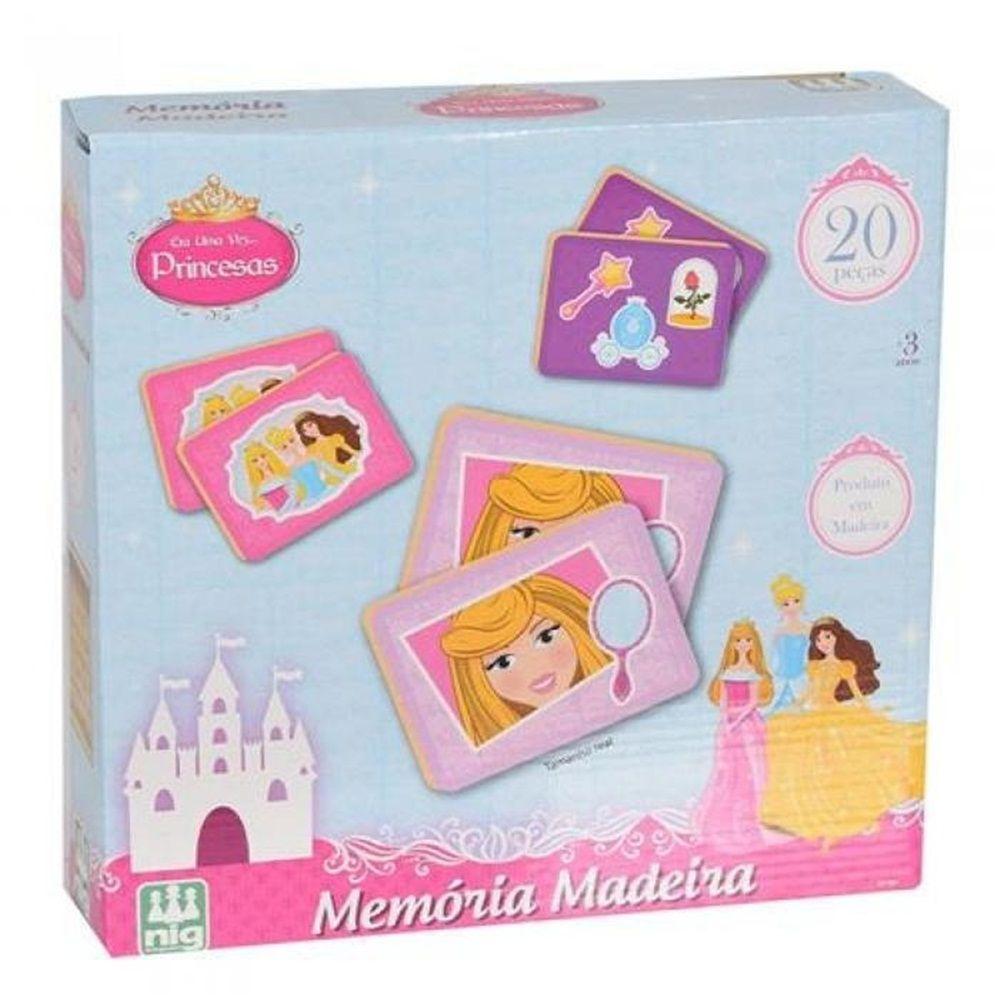 Jogo da Memória Madeira Era Uma Vez... Princesas - Nig Brinquedos