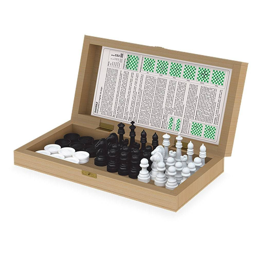 Jogo de Xadrez e Damas Escolar - Junges