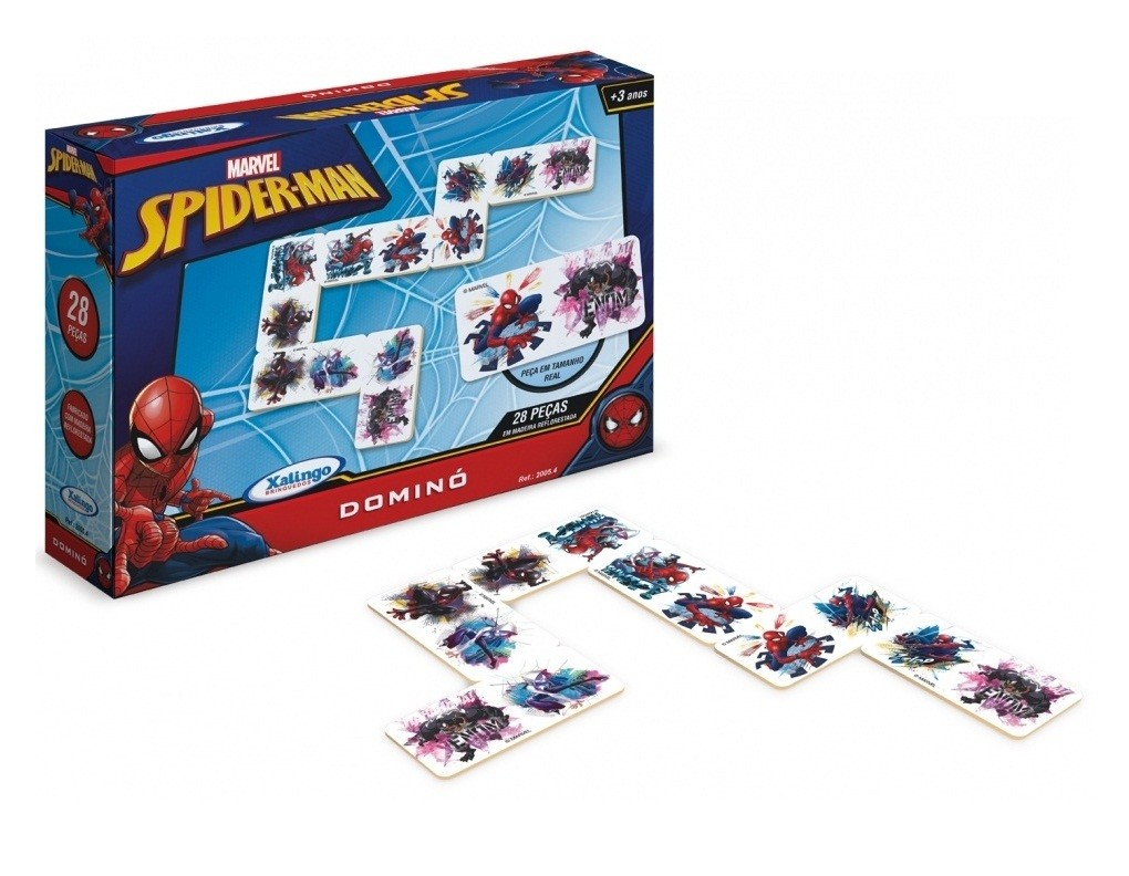 Jogo Dominó Spider-Man 28 Peças Madeira - Xalingo