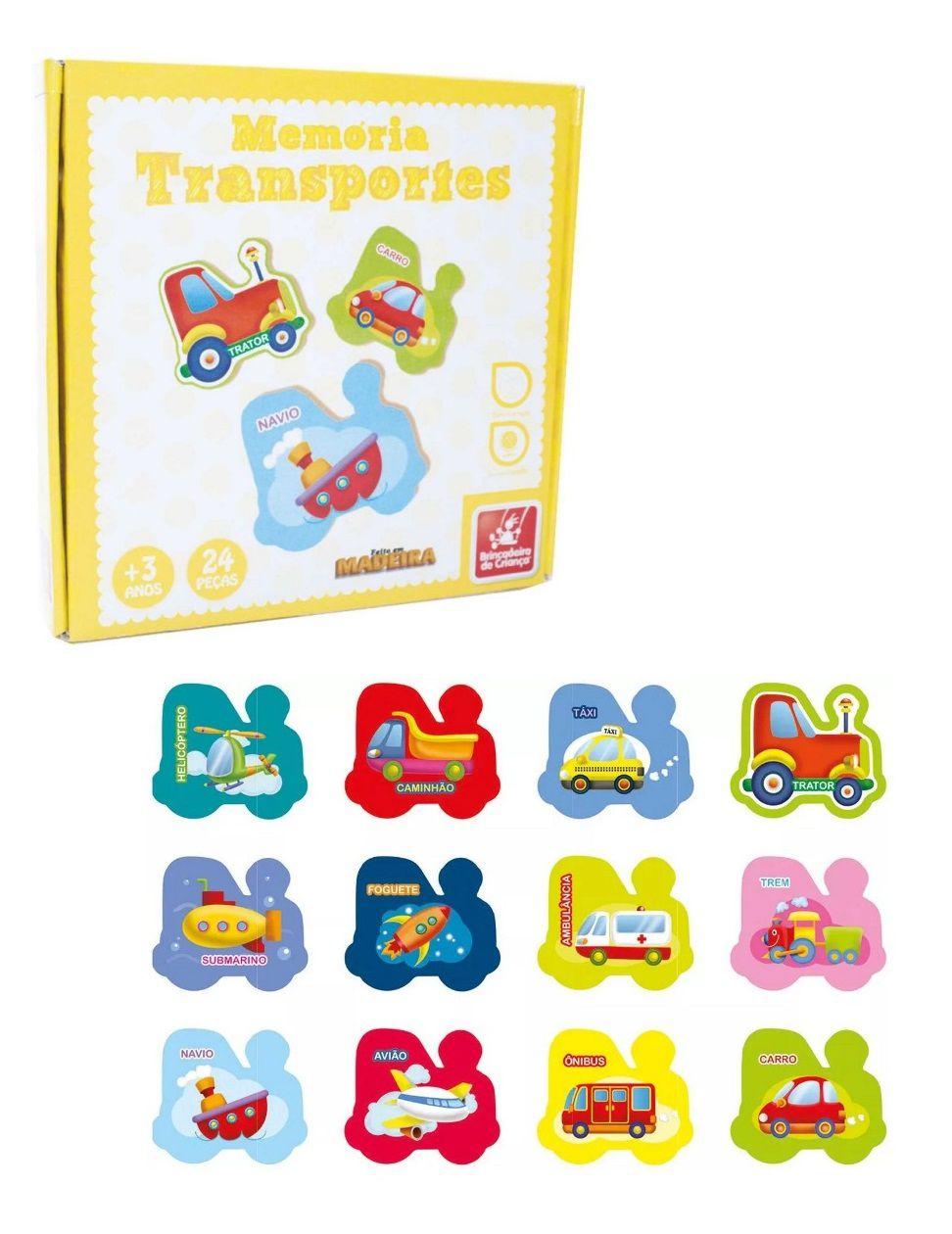 Jogo Memória Transportes em Madeira 24 Peças - Brincadeira de Criança
