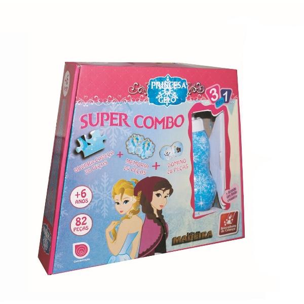 Jogo 3 em 1 Super Combo Princesa do Gelo em Madeira - Brincadeira de Criança