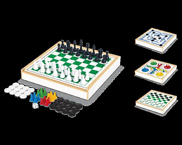 Jogos 4 em 1 Xadrez/Damas/Trilha/Ludo - Junges