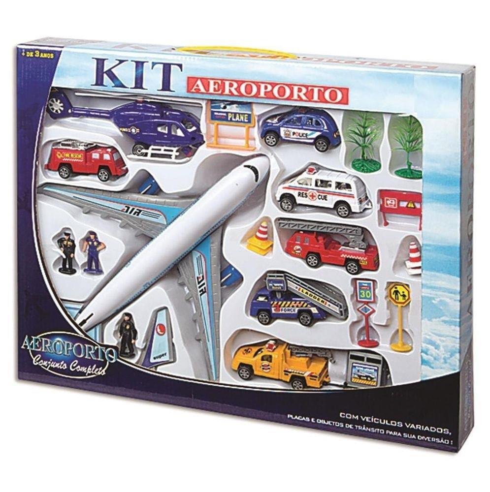 Kit Aeroporto Conjunto Completo Avião Branco - Fenix Brinquedos