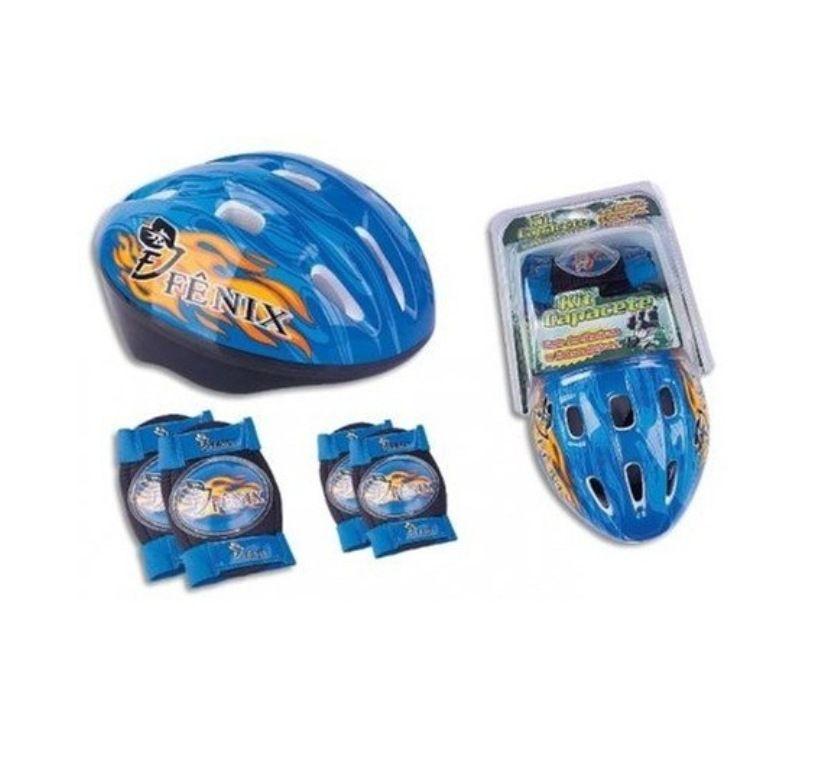 Kit Capacete com Joelheiras e Cotoveleiras Azul - Fenix Brinquedos