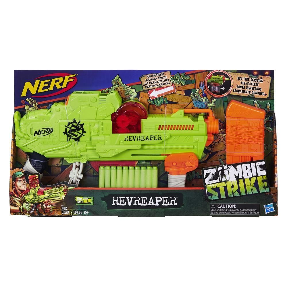 Lançador de Dardos Nerf Zombie Strike RevReaper - Hasbro
