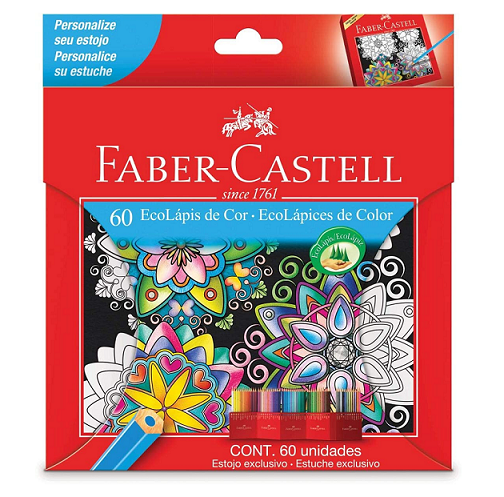 Lápis de Cor com 60 Cores Sextavado EcoLápis - Faber Castell