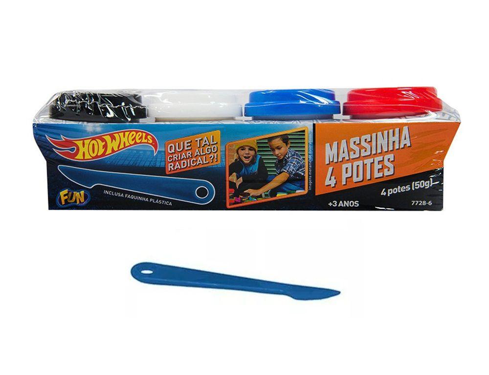 Massinha Hot Wheels 4 Potes - FUN