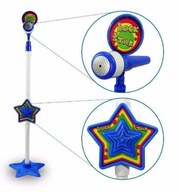 Microfone com Pedestal Ajustável Rock Star Luz e Som - Dm Toys