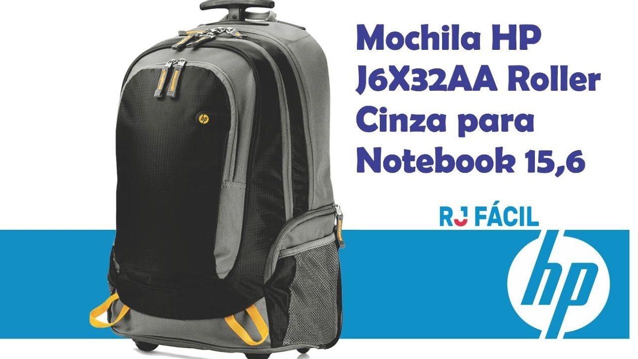 Mochila com Rodinha Grande Preta/Cinza - HP
