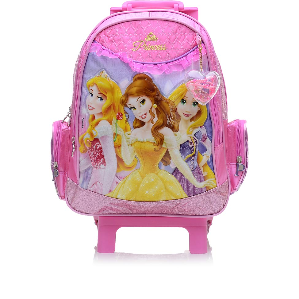 Mochila com Rodinha Média Princesas Disney Rosa - Dermiwil