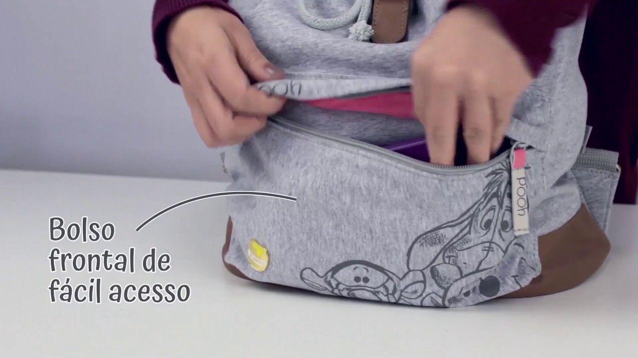Mochila de Costas Grande Pooh Cinza - Tilibra