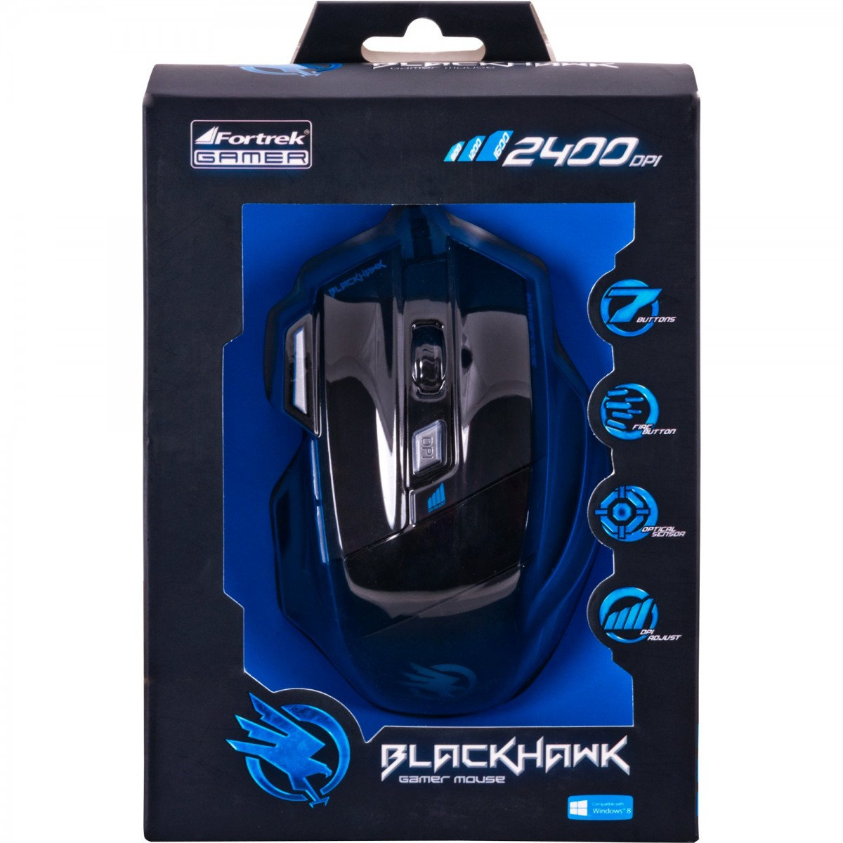 Mouse Gamer Óptico USB Black Hawk - Fortrek