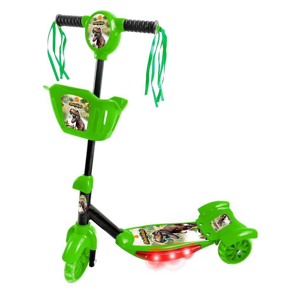 Patinete Dinossauro 3 Rodas com Cesta Luz e Som - Dm Toys
