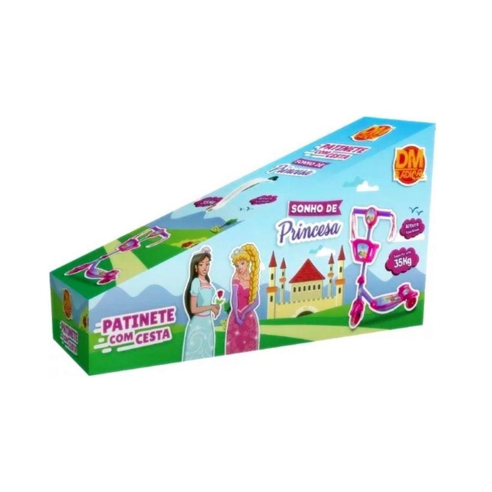 Patinete Sonho de Princesa 3 Rodas com Cesta Luz e Som - Dm Toys