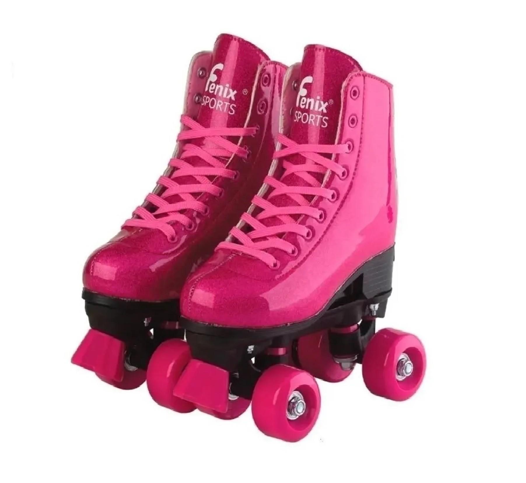 Patins 4 Rodas Roller Skate Ajustáveis 35 a 38 Rosa Glitter - Fenix Brinquedos