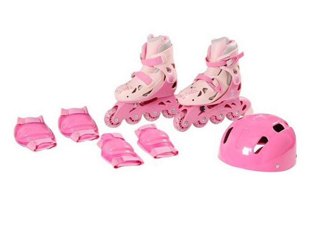 Patins In-Line Ajustáveis com Acessórios 34 ao 37 Rosa - Fenix Brinquedos