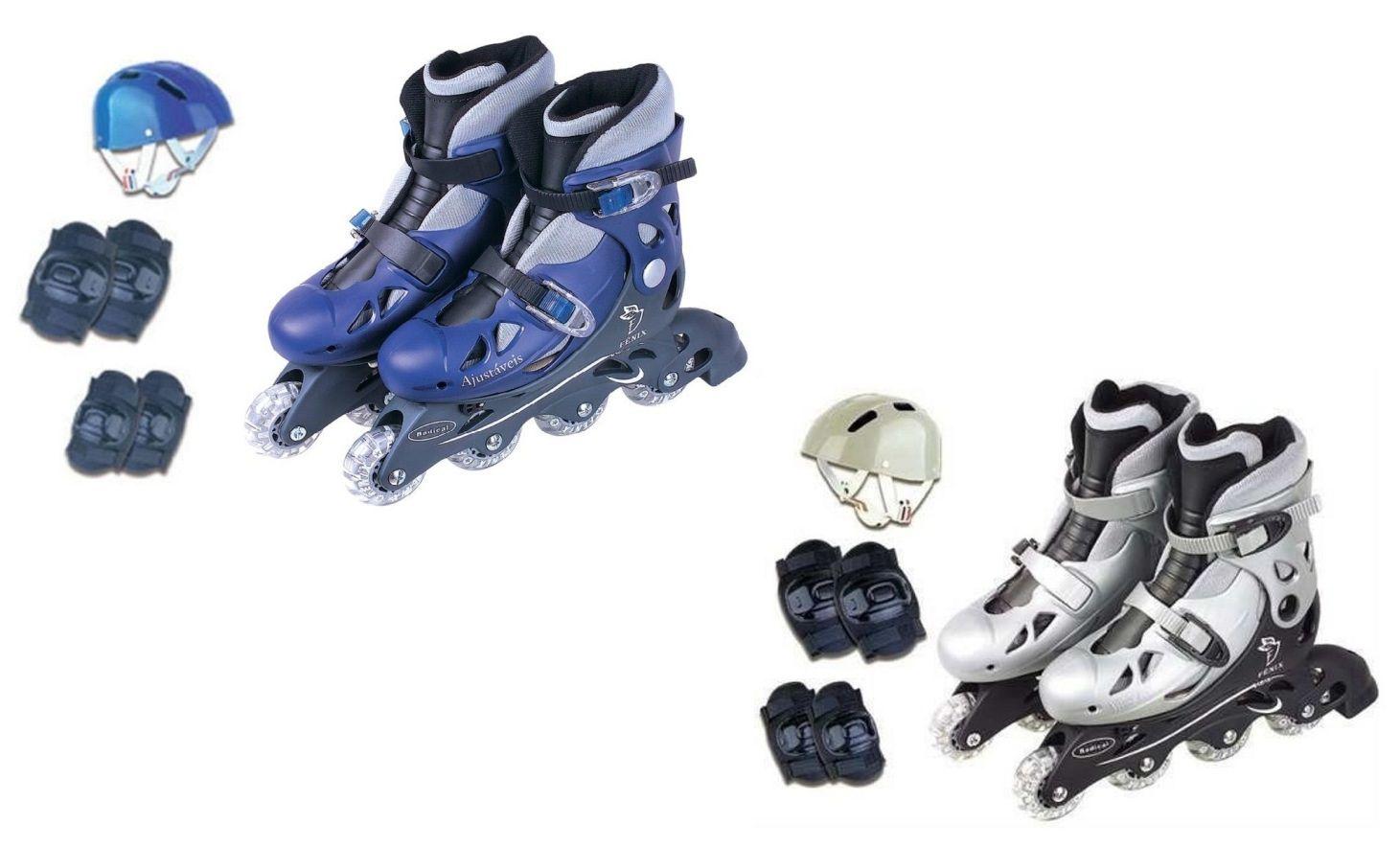 Patins In Line Ajustáveis com Capacete, Cotoveleiras e Joelheiras - Fenix Brinquedos
