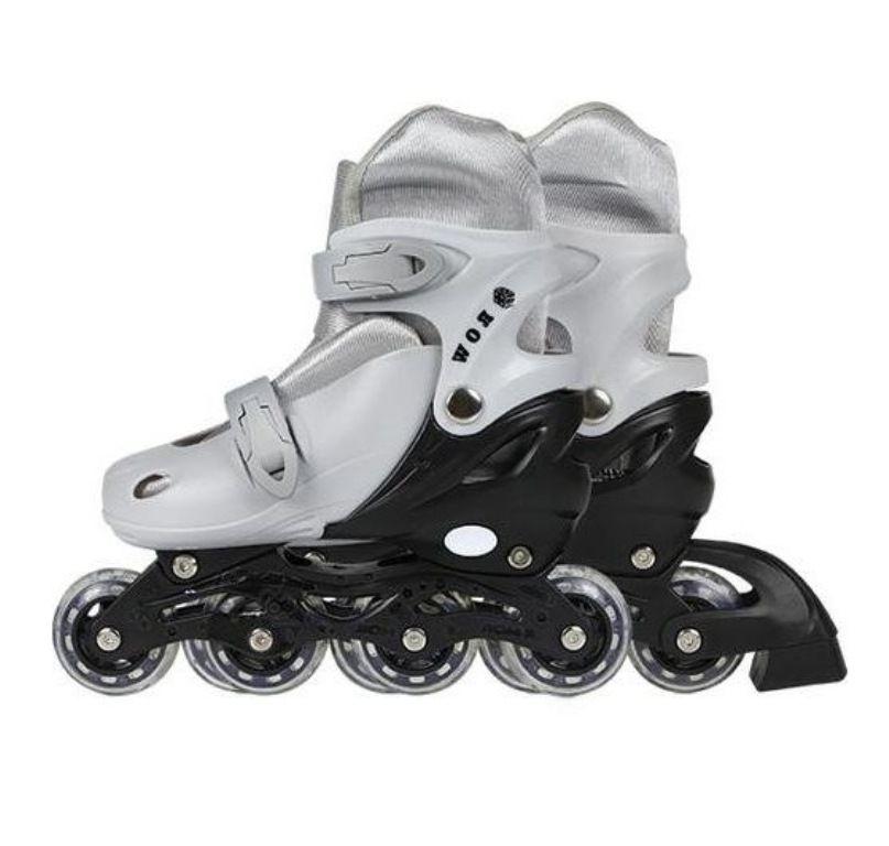 Patins In-Line Roller Infantil 35 ao 38 Cinza - Mor