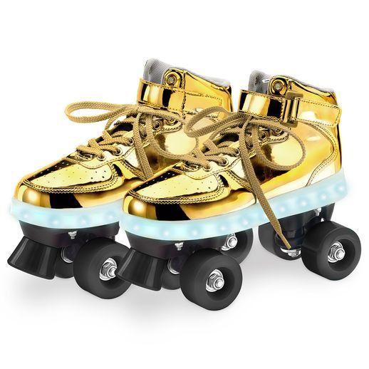 Patins Roller Clássico Dourado com Led 4 Rodas 33/34 - FUN