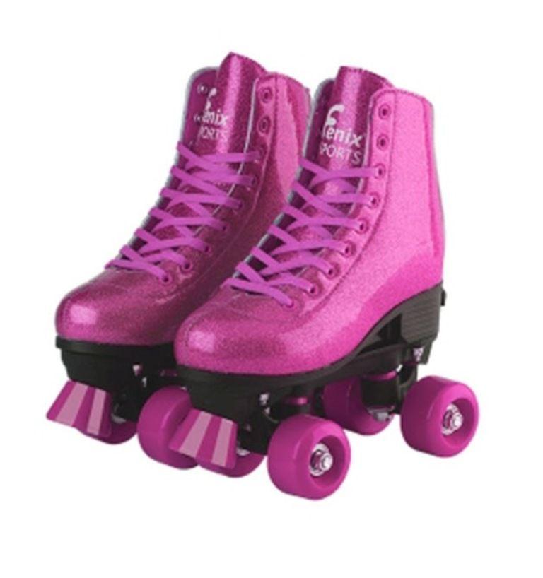 Patins Roller Skate Ajustáveis 31 a 34 Rosa Glitter - Fênix