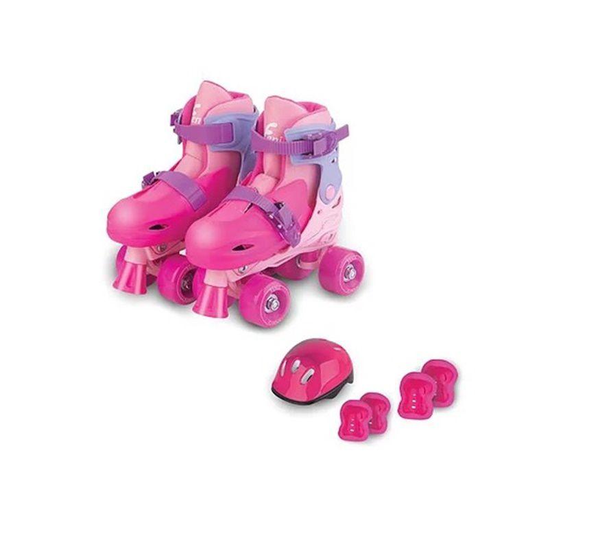 Patins Roller Skate Ajustáveis Rosa 30 ao 33 com Acessórios - Fenix Brinquedos