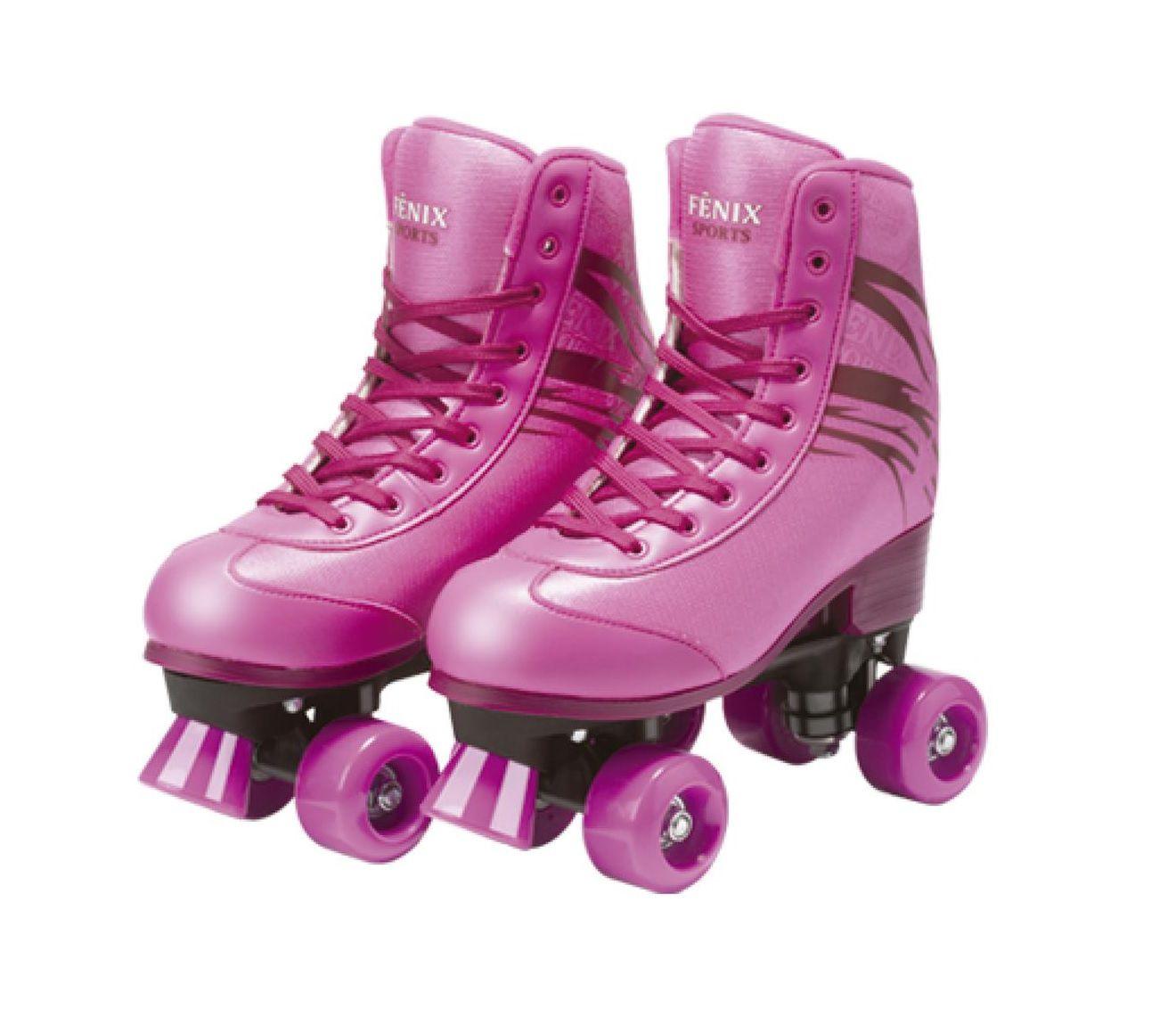 Patins 4 Rodas Roller Skate Ajustáveis Rosa 35 ao 38 - Fenix Brinquedos