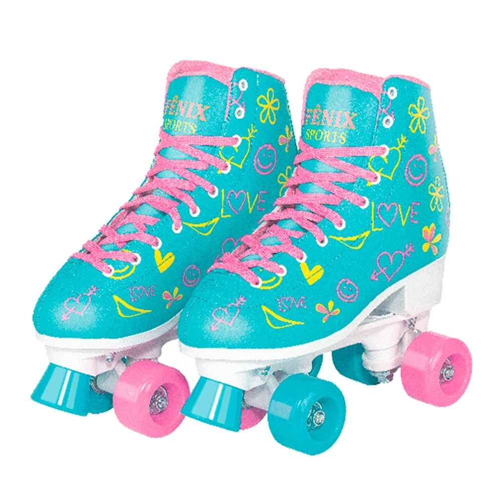 Patins Roller Skate Verde Love - Fênix