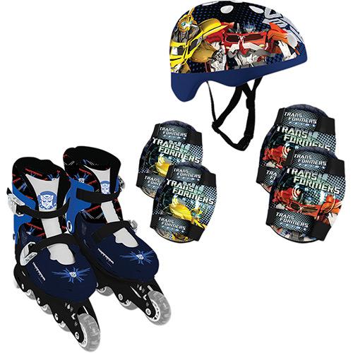 Patins In-Line Transformers Ajustáveis com Kit Segurança 37 ao 40 - By Kids