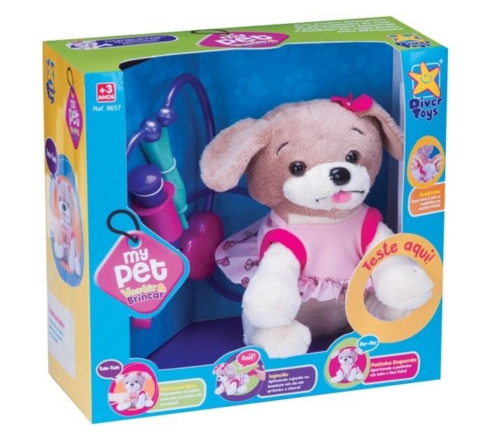 Pelúcia Cachorro My Pet Vestir e Brincar - Diver Toys