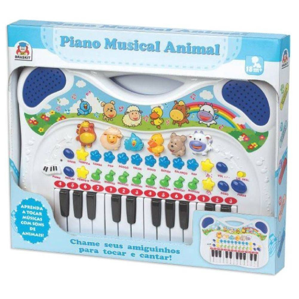 Piano Musical Animal Azul - Braskit
