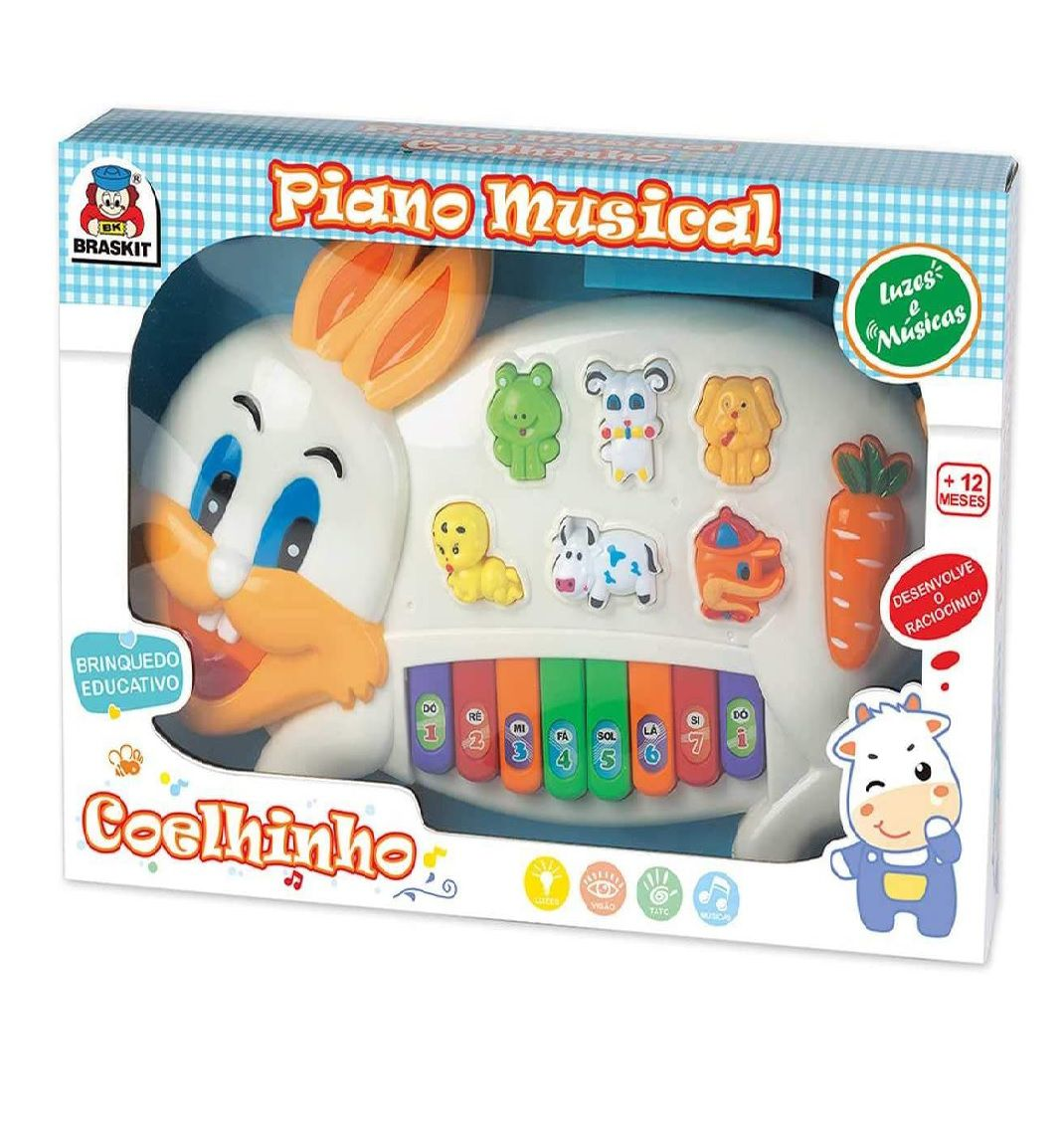 Piano Musical Coelhinho com Luz e Som - Braskit