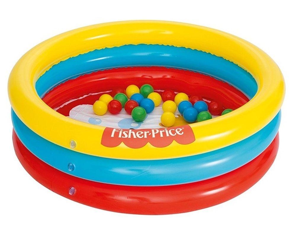 Piscina de Bolas de 3 Anéis Inflável Bestway com Bolinhas Coloridas 88 Litros - Fisher-Price