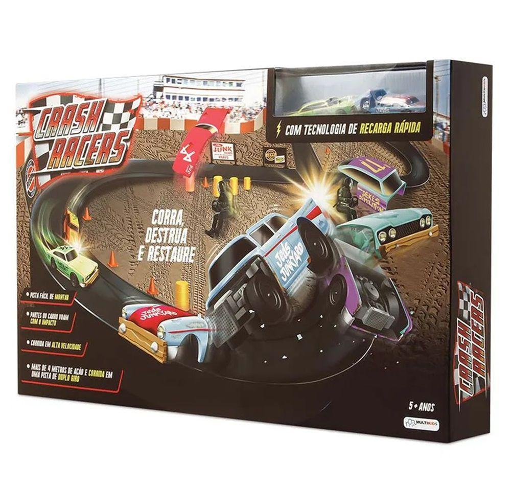 Pista Crash Racers com Tecnologia de Recarga Rápida e 2 Carros - Multikids