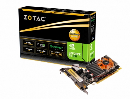Placa de Vídeo Zotac Geforce GT 610 DDR3 2GB 64-Bits DVI/ VGA/ HDMI