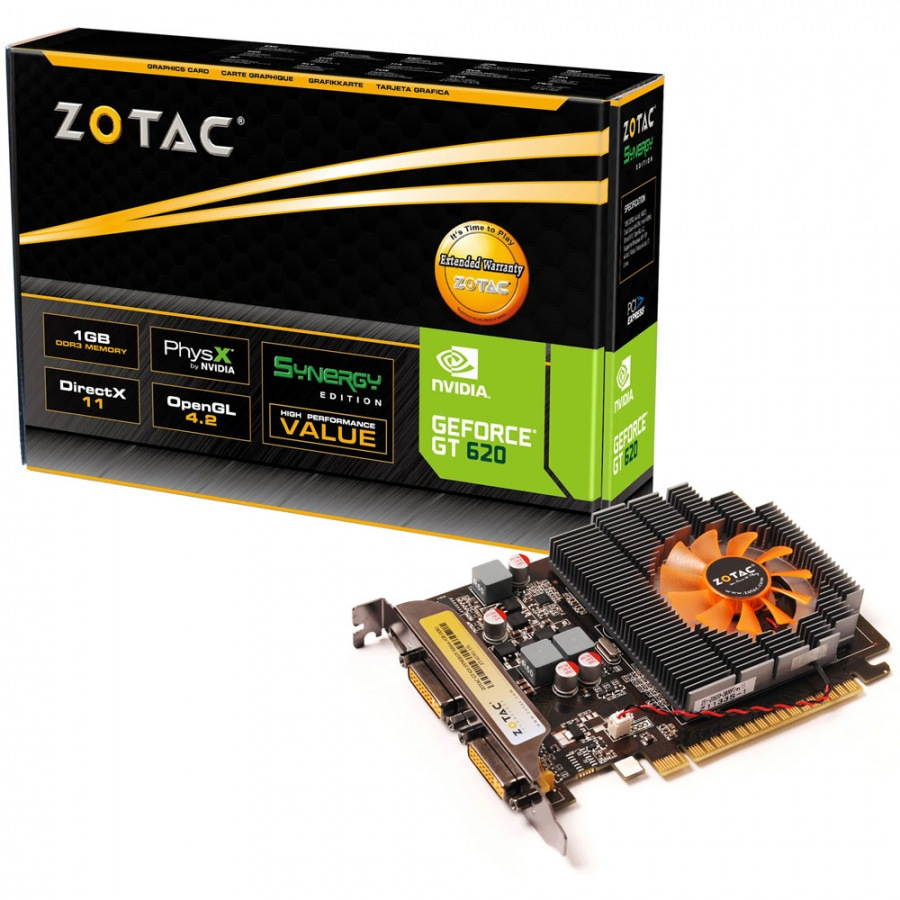 Placa de Vídeo Zotac Geforce GT 620 1GB DDR3 64-Bits Pci Express