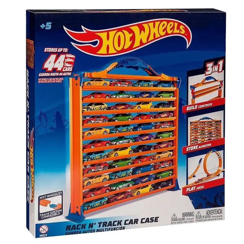 Porta Carrinhos e Pista Hot Wheels 3 em 1 - FUN