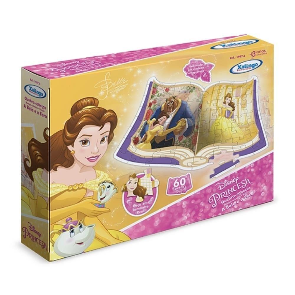Quebra-cabeça Disney Princesa A Bela e a Fera 60 Peças em Madeira - Xalingo