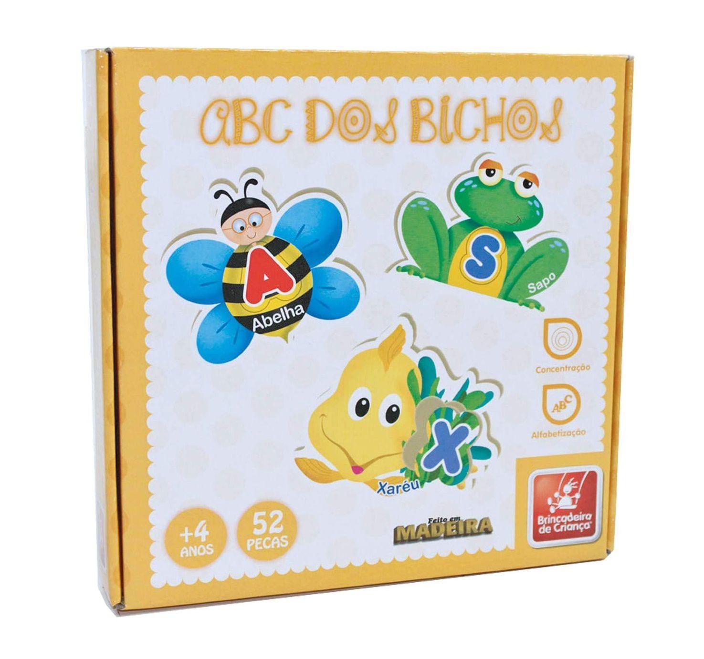 Quebra-cabeça ABC dos Bichos em Madeira - Brincadeira de Criança