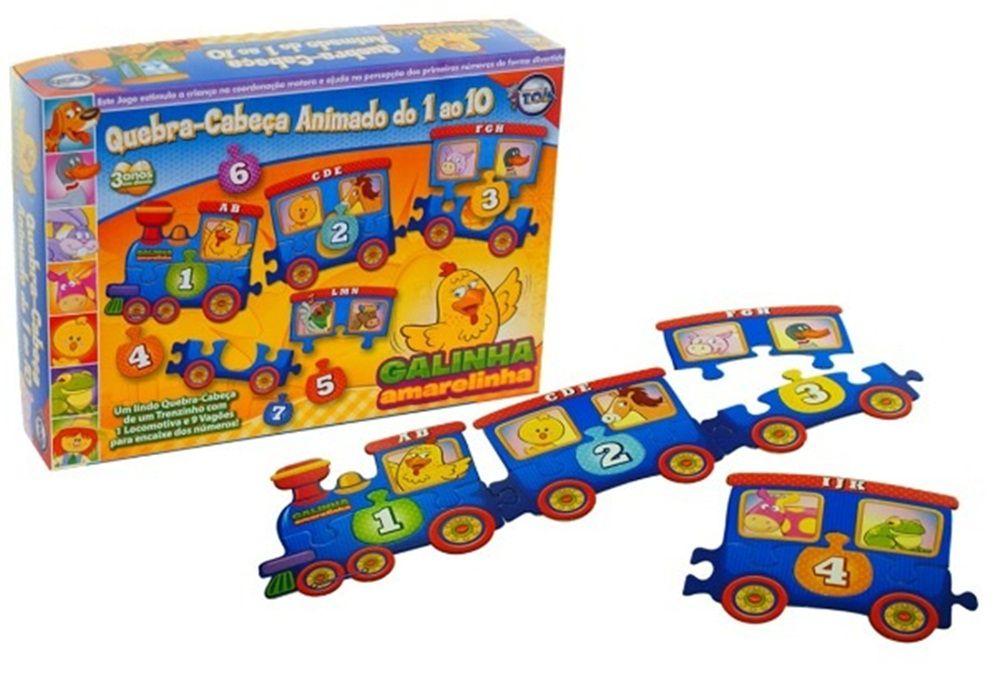 Quebra-cabeça Animado do 1 ao 10 da Galinha Amarelinha - Toia Brinquedos