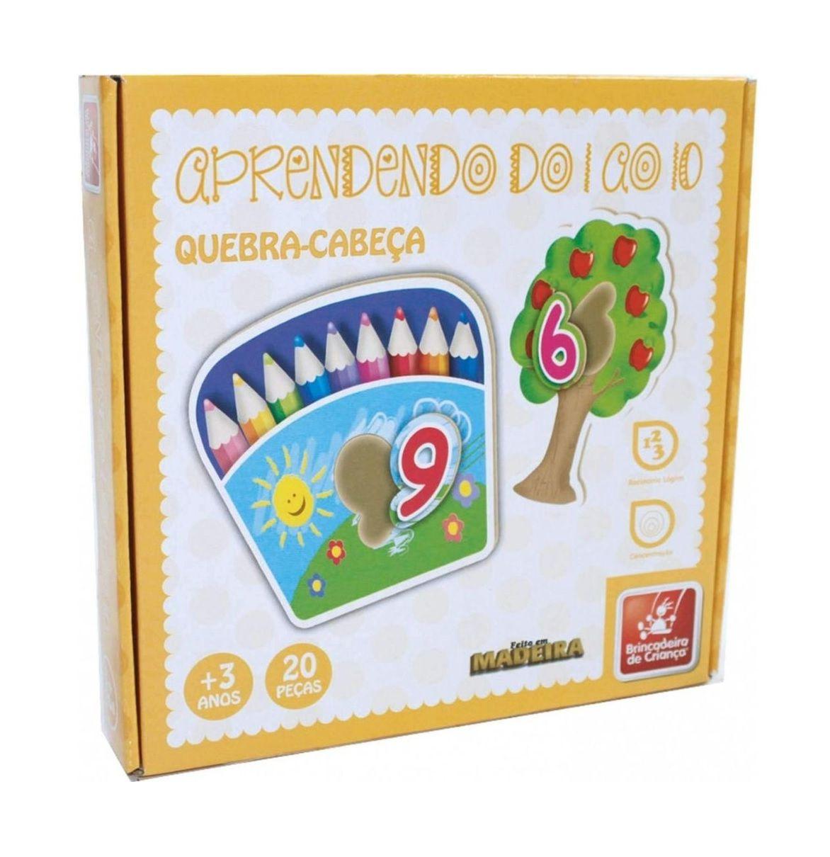 Quebra-cabeça Aprendendo do 1 ao 10 em Madeira - Brincadeira de Criança