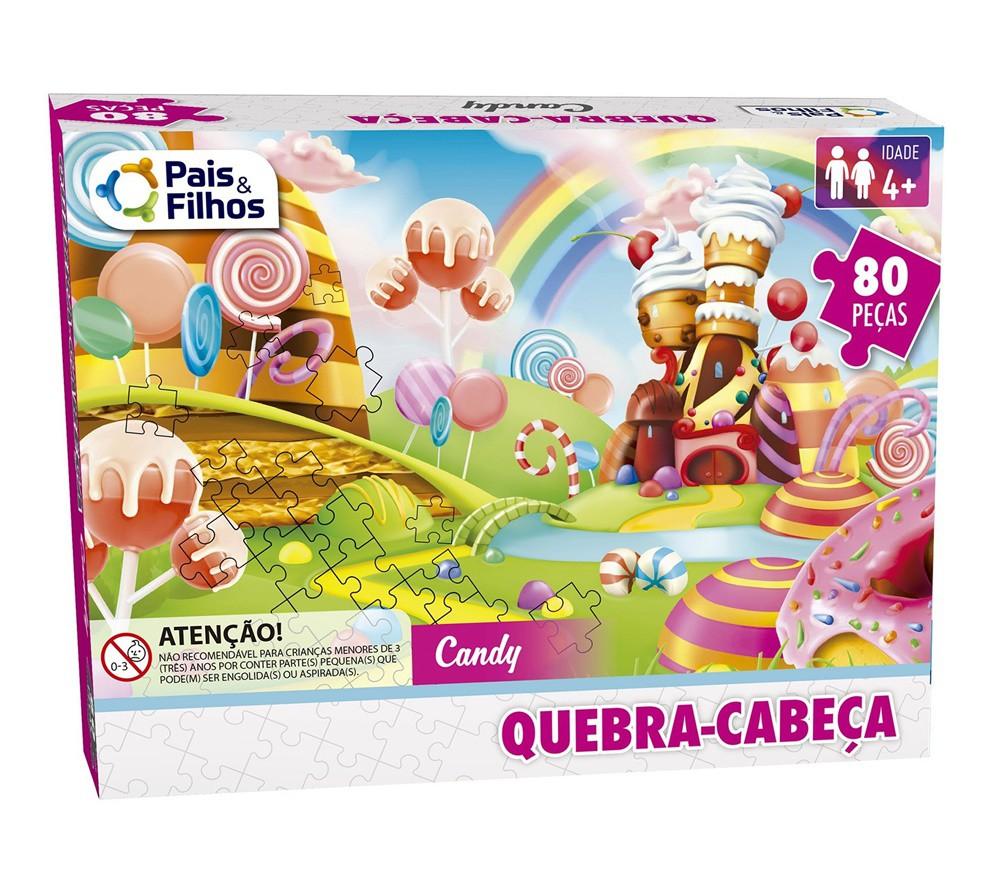 Quebra-cabeça Candy 80 Peças - Pais e Filhos