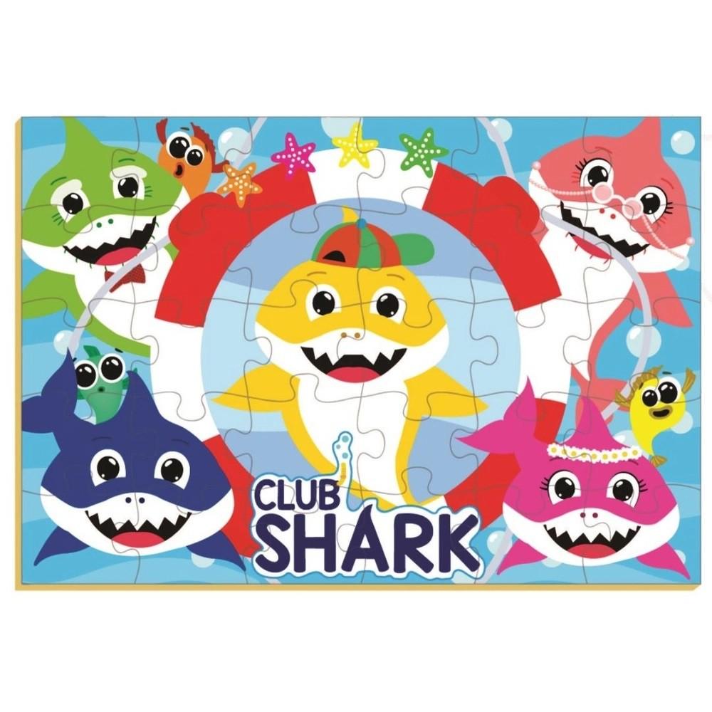 Quebra-cabeça Club Shark 30 Peças em Madeira - Brincadeira de Criança